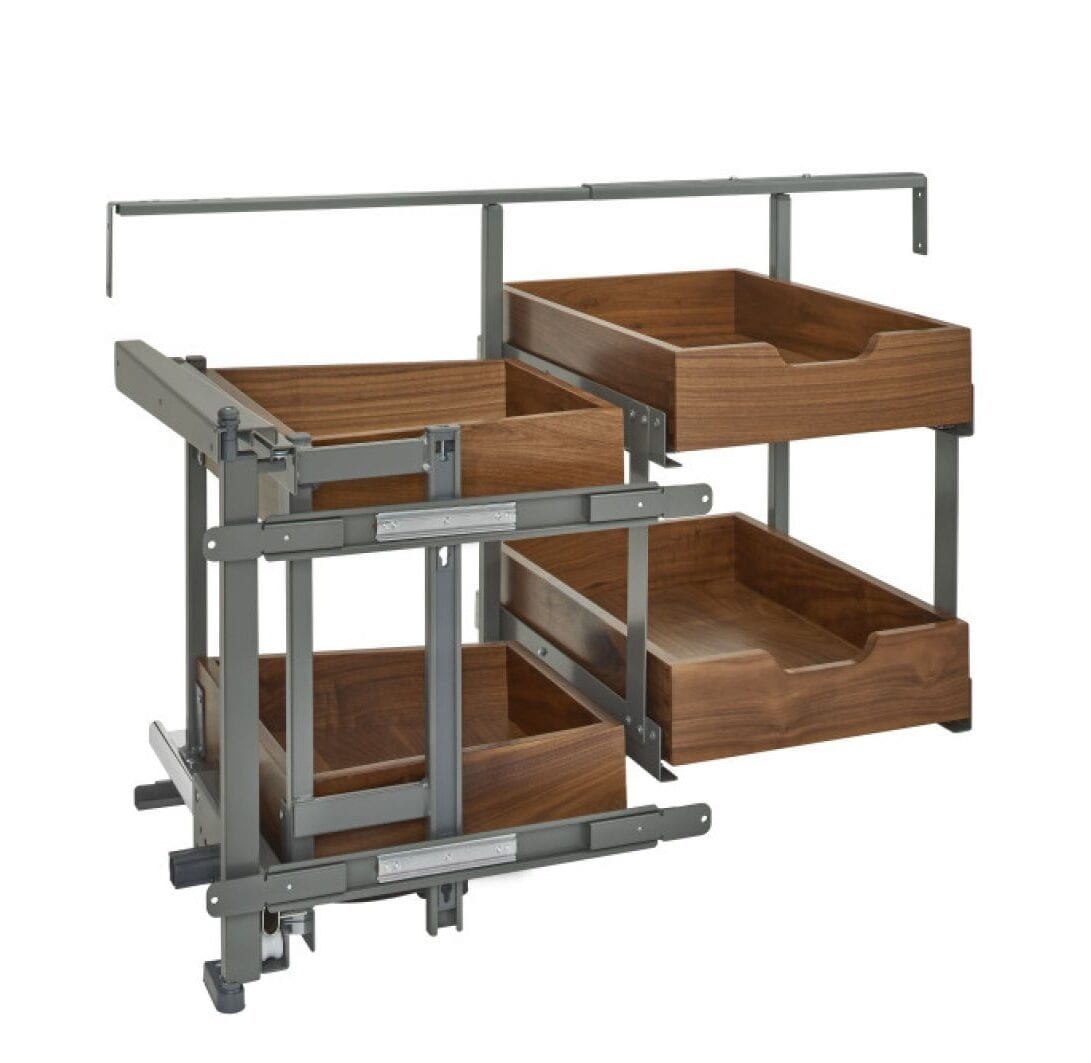 Pull Out Two Tier Corner Kitchen Cabinet Organizer In Walnut Left Or Right Door Mount For 18 Opening With Four Drawers And Blumotion Soft Close Drawer Slides Kitchen Inventions