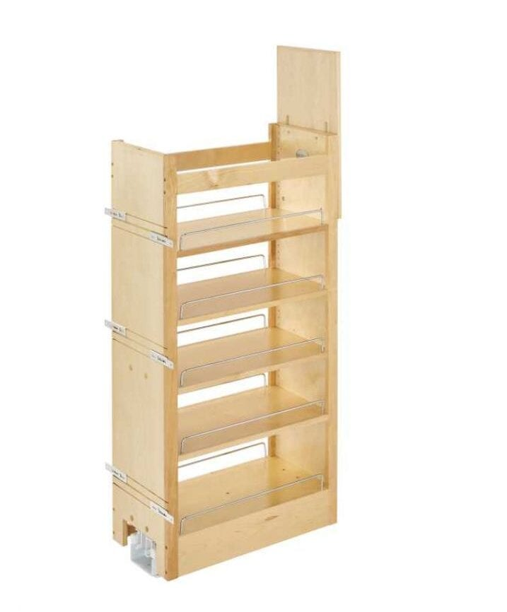 Tall Wood Pull-Out Pantry with Adjustable Shelves for ...