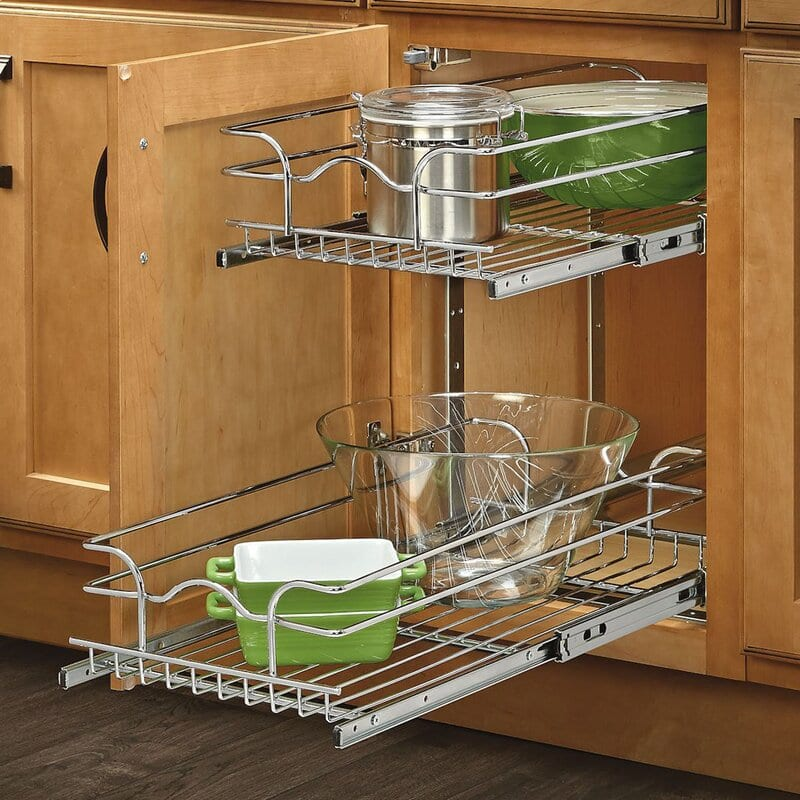double wire basket pullout shelf storage organizer for